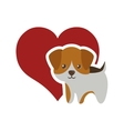 dog canine young standing red heart vector image vector image