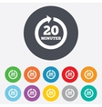 Every 20 minutes sign icon Full rotation arrow vector image vector image
