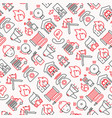 firefighter seamless pattern with thin line icons vector image vector image