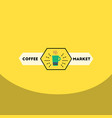 flat icon design collection emblem of hot coffee vector image