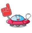 foam finger ufo mascot cartoon style vector image