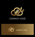 gold cloud arrow business company logo vector image