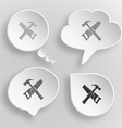 Hand saw and hammer White flat buttons on gray vector image vector image
