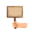 hand with sign isolated activist person hand vector image vector image