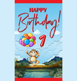 happy birthday card with monkey and balloons vector image