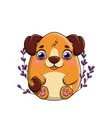 happy little brown cartoon dog with large purple vector image vector image