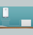 heating radiator and boiler in room vector image vector image