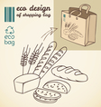 Line drawing of bakery products for shopping bag vector image