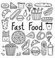 line hand drawn doodle fast food set vector image vector image