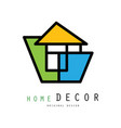 linear logo for home decorating company or vector image vector image