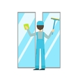 Man With Sponge And Squeegee Washing Windows vector image vector image