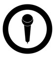 microphone icon black color in circle or round vector image