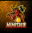 minotaur esport logo mascot design vector image vector image