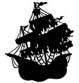 mysterious ship silhouette vector image