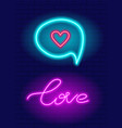 neon hand drawn lettering love phrase vector image vector image