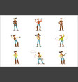 north american cowboy with different accessories vector image vector image