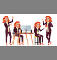office worker woman face emotions vector image