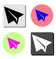 paper airplane flat icon vector image
