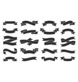 paper ribbon black silhouette icons set vector image