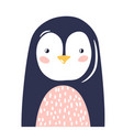 penguin cute animal baby face vector image vector image