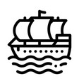 pirate sail boat icon outline vector image vector image