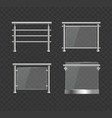 realistic detailed 3d glass balustrade with metal vector image
