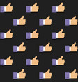 seamless background with thumbs up icons on dark vector image