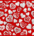seamless pattern paper hearts vector image vector image