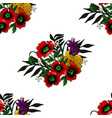 seamless texture with poppies and other flowers vector image