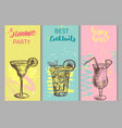 set bar templates with hand drawn cocktails vector image