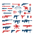 Set color icons of weapons vector image