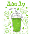 sketch detox poster smoothie glass take away vector image vector image