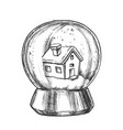 snow globe with house souvenir vintage vector image vector image
