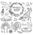 Thanksgiving day doodle iconswreathLinear set vector image vector image