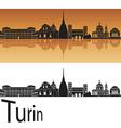 Turin skyline in orange background vector image vector image