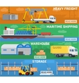 Warehouse and logistics banner set vector image vector image