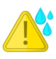 Warning sign and drops icon cartoon style vector image vector image