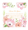 wedding sweet pink flower card vector image vector image
