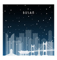 winter night in busan night city in flat style vector image vector image