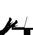 woman legs black on computer vector image vector image