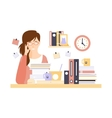 Woman Office Worker In Office Cubicle With Too vector image