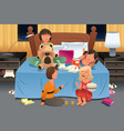 young girls having a slumber party vector image