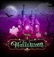 Happy halloween castle ghost on the moon design vector image