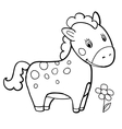 horse cartoon black and white coloring smile vector image