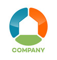 abstract house circle logo vector image vector image
