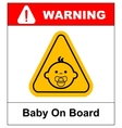 Baby on board sign on white background vector image vector image