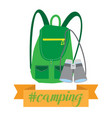 backpack with binocular and hashtag camping vector image vector image