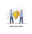 businessmen connect puzzle lamp joint efforts vector image