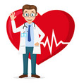 cardiologist smiles and waves his hand against the vector image vector image