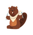cartoon beaver with fork and knife in paws ready vector image vector image